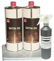 Sparset 2x 1lt Satin Oil + Öl Sprüher + Auftragsvlies