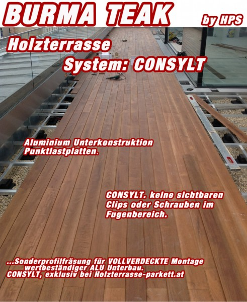 holzterrasse burma teak system consylt holzterrasse. Black Bedroom Furniture Sets. Home Design Ideas